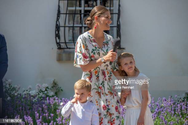 Crown Princess Victoria of Sweden and her children Prince Oscar and Princess Estelle are seen during The Crown Princess Victoria of Sweden's 42nd...