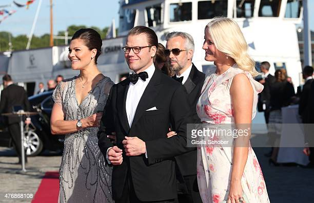 Crown Princess Victoria of Sweden and her husband Daniel, Duke of Vastergotland, Crown Princess Mette Marit of Norway, Ari Behn arrive for the...
