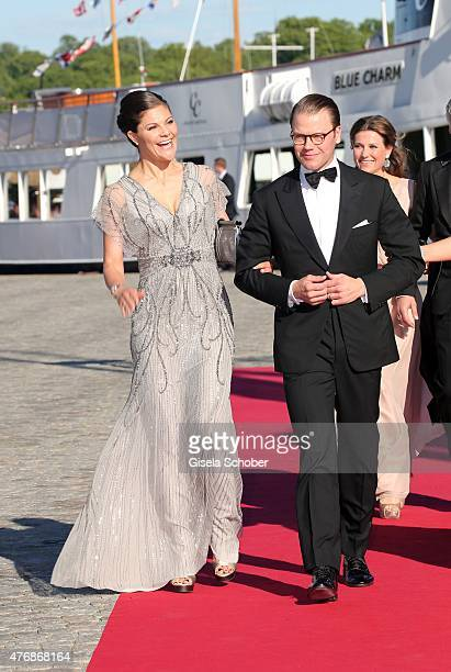 Crown Princess Victoria of Sweden and her husband Daniel Duke of Vastergotland arrive for the private PreWedding Dinner of Swedish Prince Carl Philip...