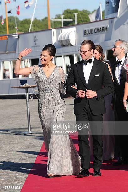 Crown Princess Victoria of Sweden and her husband Daniel, Duke of Vastergotland arrive for the private Pre-Wedding Dinner of Swedish Prince Carl...