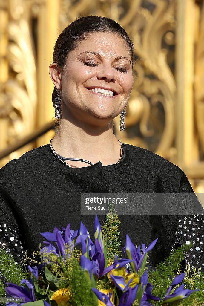 Crown Princess Victoria of Sweden and her husband Duke of Vastergotland Daniel Westling open the Contemporary Artist Carl Larsson exhibition at 'Petit Palais' on March 6, 2014 in Paris, France.PARIS, FRANCE -