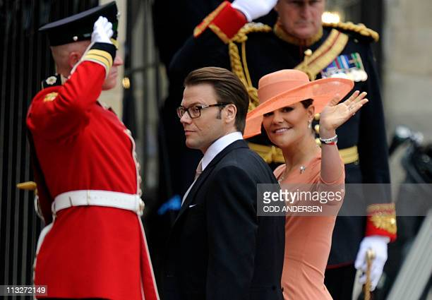 Crown Princess Victoria of Sweden and her husband Prince Daniel arrive at the West Door of Westminster Abbey in London for the wedding of Britain's...
