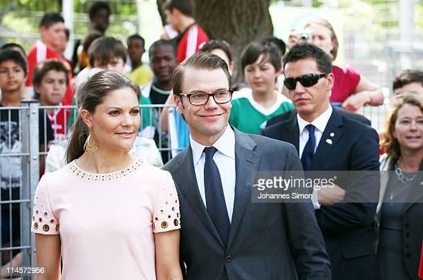 Crown Princess Victoria of Sweden and her husband Prince Daniel Duke of Vastergotland arrive at 'BuntKicktGut' children's project on May 24 2011 in...