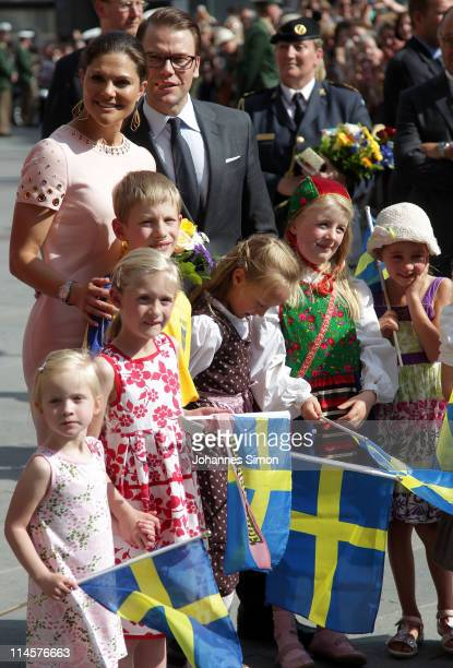 Crown Princess Victoria of Sweden and her husband Prince Daniel Duke of Vastergotland arrive at Marienplatz square on May 24 2011 in Munich Germany