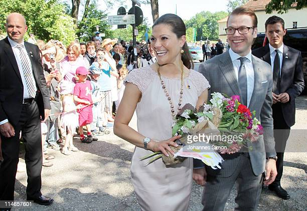 Crown Princess Victoria of Sweden and her husband Prince Daniel Duke of Vastergotland arrive at Blutenburg Castle on May 25 2011 in Munich Germany