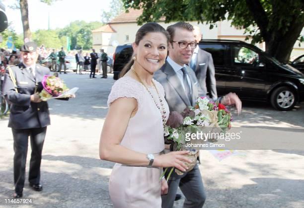 Crown Princess Victoria of Sweden and her husband Prince Daniel , Duke of Vastergotland, arrive at Blutenburg Castle on May 25, 2011 in Munich,...