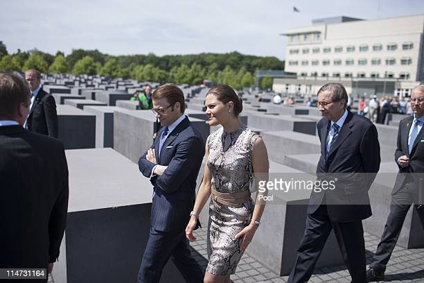 Crown Princess Victoria of Sweden and her husband Prince Daniel Duke of Vastergotland visit the Memorial to the Murdered Jews of Europe on May 26...