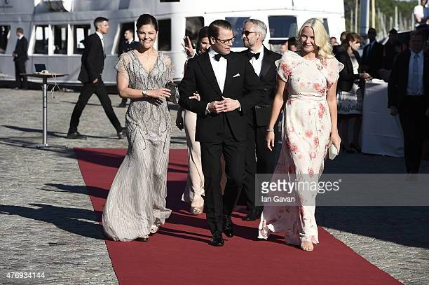 Crown Princess Victoria of Sweden and her husband Prince Daniel of Sweden and Princess MetteMarit of Norway arrive to board the SS Stockholm boat...
