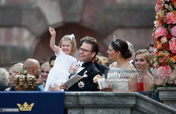 Crown Princess Victoria of Sweden and her husband Prince Daniel of Sweden depart the royal wedding of Prince Carl Philip of Sweden and Sofia...