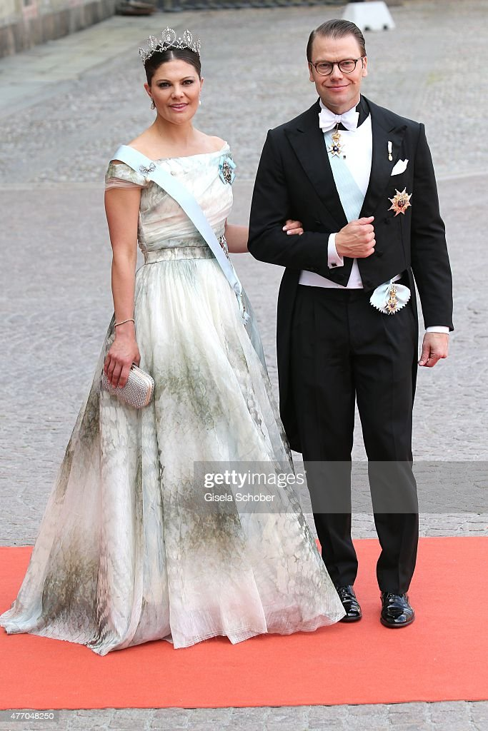 Crown Princess Victoria of Sweden and her husband Prince Daniel of Sweden, Duke of Vastergotland, attend the royal wedding of Prince Carl Philip of Sweden and Sofia Hellqvist at The Royal Palace on June 13, 2015 in Stockholm, Sweden.