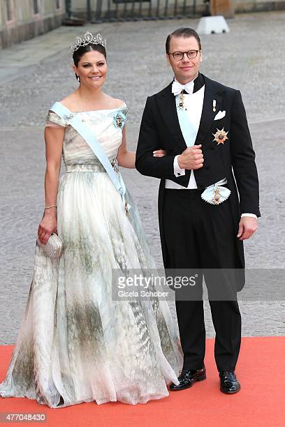 Crown Princess Victoria of Sweden and her husband Prince Daniel of Sweden Duke of Vastergotland attend the royal wedding of Prince Carl Philip of...