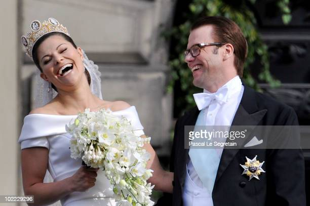 Crown Princess Victoria of Sweden and her husband prince Daniel attend their wedding banquet at the Royal Palace on June 19 2010 in Stockholm Sweden