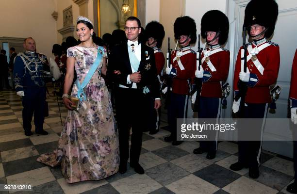 Crown Princess Victoria of Sweden and husband Prince Daniel arrive to the gala banquet on the occasion of The Crown Prince's 50th birthday at...