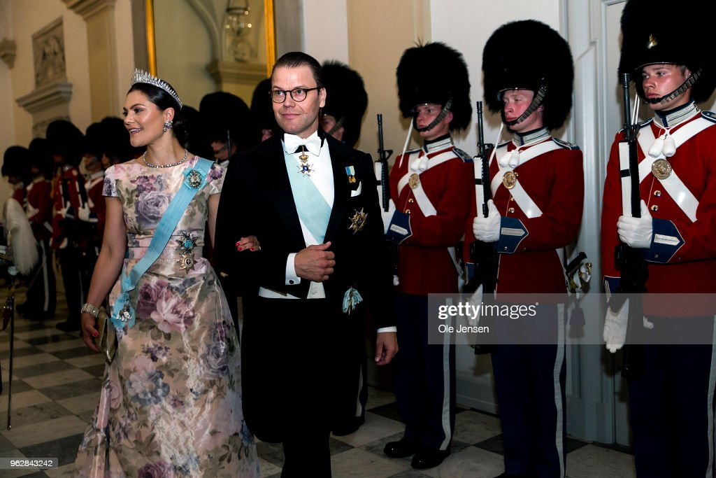 Crown Princess Victoria of Sweden and husband Prince Daniel arrive to the gala banquet on the occasion of The Crown Prince's 50th birthday at Christiansborg Palace on May 26, 2018 in Copenhagen, Denmark. Some 350 guest participated in the event