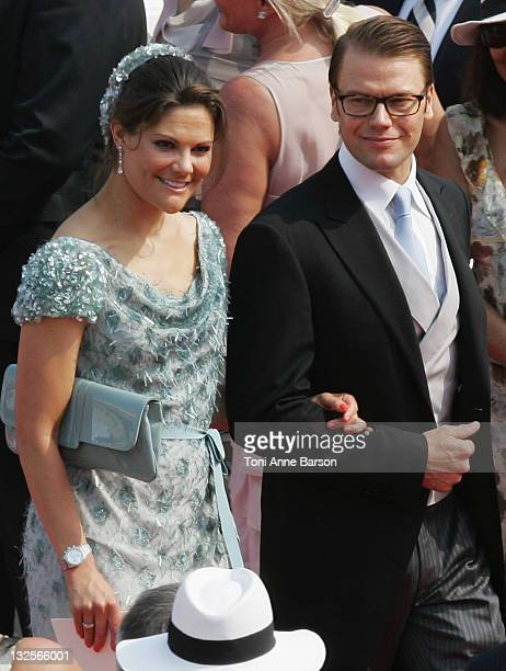Crown Princess Victoria of Sweden and husband Prince Daniel, Duke of Vastergotland attend the religious ceremony of the Royal Wedding of Prince...