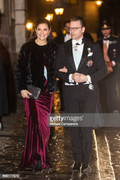 Crown Princess Victoria of Sweden and husband Prince Daniel of Sweden attend a formal gathering at the Swedish Academy on December 20, 2017 in...