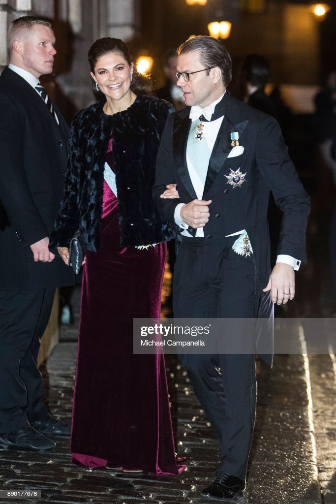 Crown Princess Victoria of Sweden and husband Prince Daniel of Sweden attend a formal gathering at the Swedish Academy on December 20, 2017 in Stockholm, Sweden.
