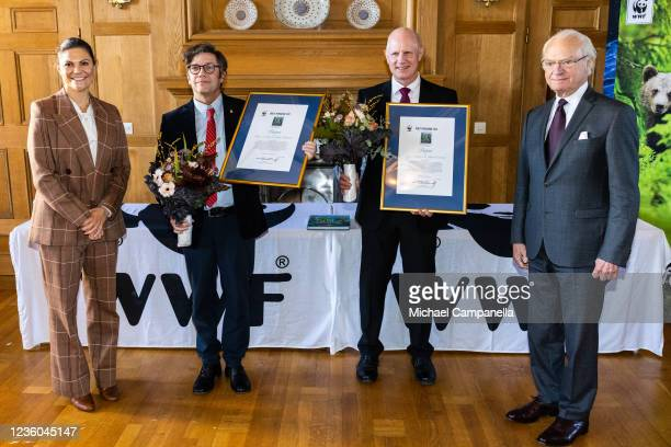 Crown Princess Victoria of Sweden and King Carl XV Gustaf of Sweden award the 2022 Panda Book Prize to Magnus Lundgren and Staffan Widstrand during...