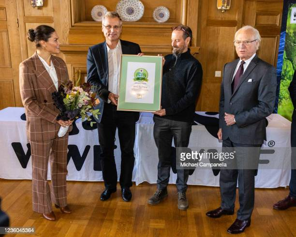 Crown Princess Victoria of Sweden and King Carl XVI Gustaf of Sweden award the 2022 Environmental Hero of the Year prize to Lund Universitys Martin...