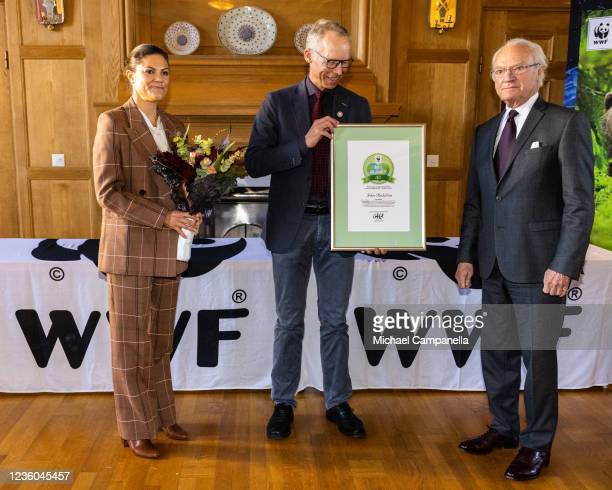 Crown Princess Victoria of Sweden and King Carl XVI Gustaf of Sweden award the 2022 Environmental Hero prize to Johan Rockstrom during the WWFs...