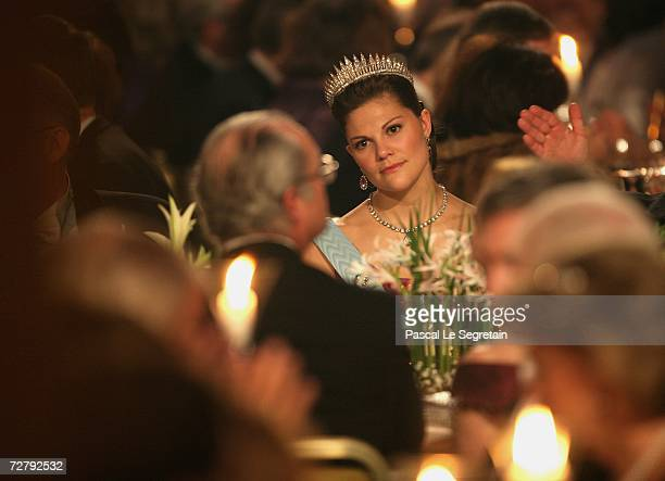 Crown Princess Victoria of Sweden and King Carl XVI Gustaf of Sweden, during the Nobel Banquet at the City Hall on December 10, 2006 in Stockholm,...