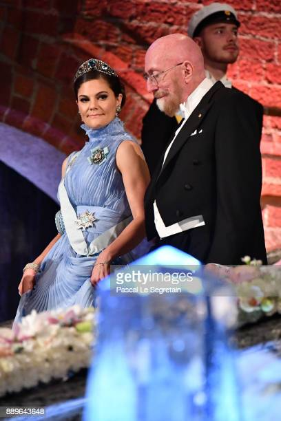 Crown Princess Victoria of Sweden and Kip S Thorne laureate of the Nobel Prize in physics attend the Nobel Prize Banquet 2017 at City Hall on...