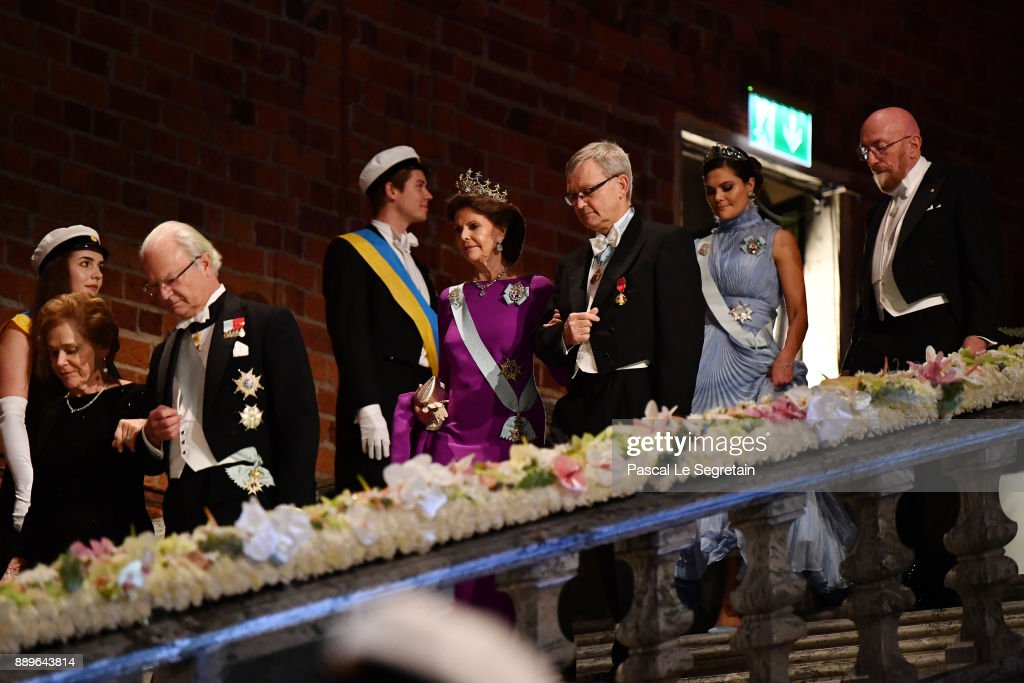 Crown Princess Victoria of Sweden and Kip S. Thorne, laureate of the Nobel Prize in physics and Queen Silvia of Sweden and Joachim Frank, laureate of the Nobel Prize in chemistry attend the Nobel Prize Banquet 2017 at City Hall on December 10, 2017 in Stockholm, Sweden.