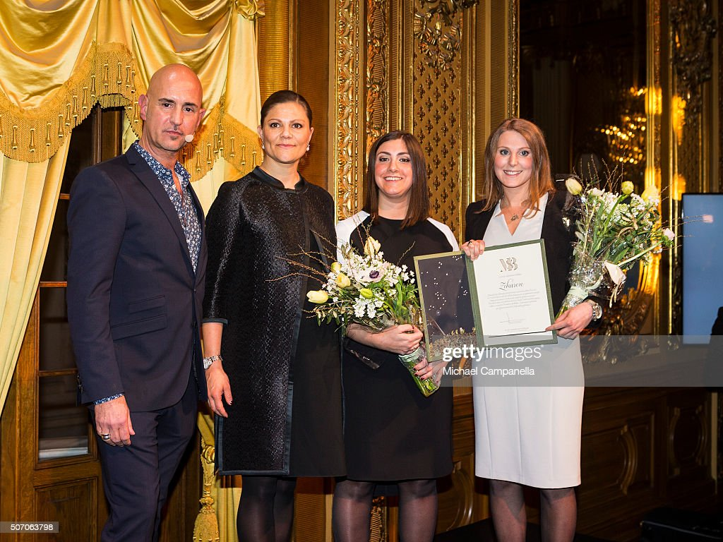 Crown Princess Victoria of Sweden and Micael Bindefeld (L) with winners Adina Krantz and Nadine Gerson during the presentation of Scholarships From Micael Bindefeld Foundation in Memory Of The Holocaust at the Royal Opera House on January 27, 2016 in Stockholm, Sweden.