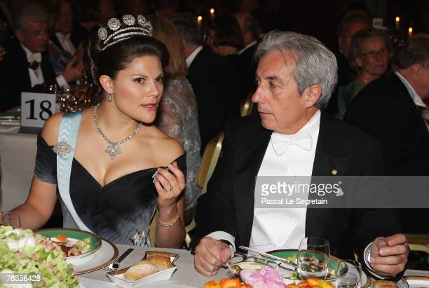Crown Princess Victoria of Sweden and Physics Nobel Prize winner Albert Fert of France attend the Nobel Foundation Prize 2007 Gala Dinner at the City...