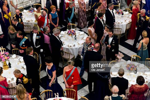 Crown Princess Victoria of Sweden and Prince Daniel are lead to their table at The Knights hall where Queen Margrethe of Denmark host the Galla...