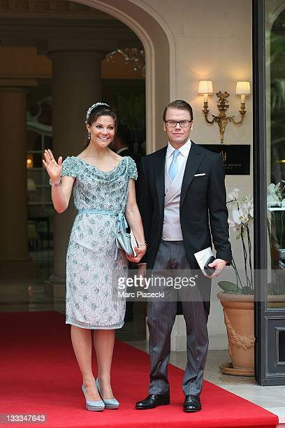 Crown Princess Victoria of Sweden and Prince Daniel, Duke of Vastergotland are sighted leaving the 'Hermitage' hotel to attend the Royal Wedding of...