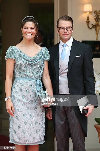 HRH Crown Princess Victoria of Sweden and Prince Daniel Duke of Vastergotland are sighted leaving the 'Hermitage' hotel to attend the Royal Wedding...