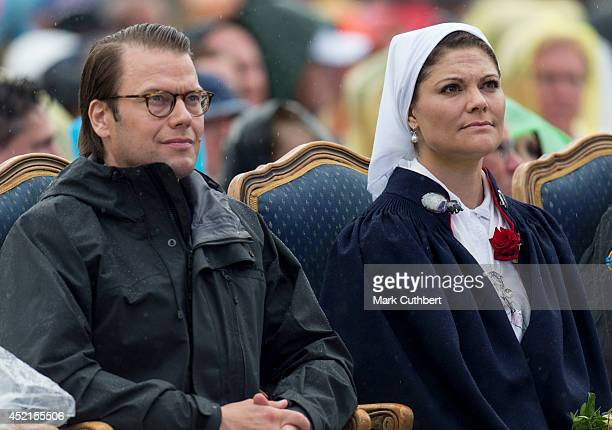 Crown Princess Victoria of Sweden and Prince Daniel Duke of Vastergotland attend a concert to celebrate her 37th birthday at Borgholm on July 14 2014...