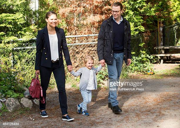 Crown Princess Victoria of Sweden and Prince Daniel, Duke of Vastergotland attend a photocall on Princess Estelle's first day at pre-school on August...