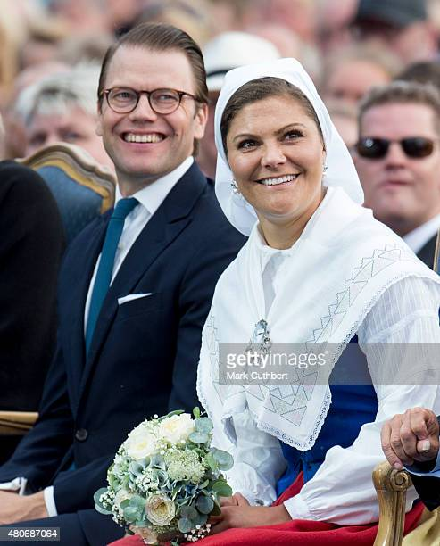 Crown Princess Victoria of Sweden and Prince Daniel, Duke of Vastergotland attend a concert at the 38th birthday celebrations for Crown Princess...