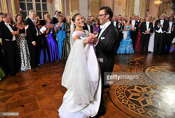 Crown Princess Victoria of Sweden and Prince Daniel, Duke of Vastergotland dance after the Wedding Banquet at the Royal Palace on June 19, 2010 in...