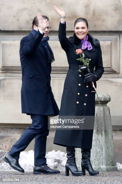 Crown Princess Victoria of Sweden and Prince Daniel Duke of Vastergotland participate in a celebration for the Crown Princess' name day at the...