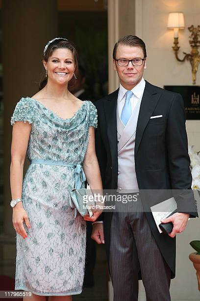 Crown Princess Victoria of Sweden and Prince Daniel, Duke of Vastergotland leave the 'Hermitage' hotel to attend the religious ceremony of the Royal...
