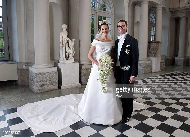 Crown Princess Victoria of Sweden and Prince Daniel, Duke of Vastergotland pose after their wedding in Storkyrkan Church on June 19, 2010 in...