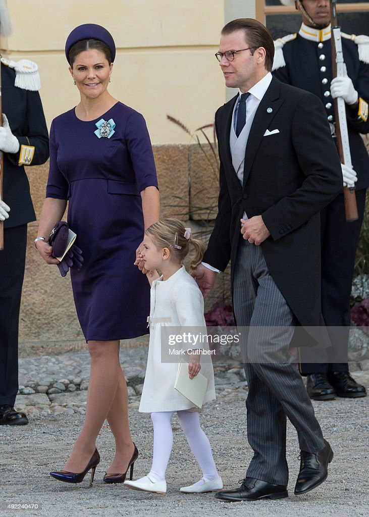 Crown Princess Victoria of Sweden and Prince Daniel, Duke of Vastergotland with Princess Estelle of Sweden are seen at Drottningholm Palace for the Christening of Prince Nicolas of Sweden at Drottningholm Palace on October 11, 2015 in Stockholm, Sweden.