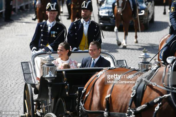 Crown Princess Victoria of Sweden and Prince Daniel of Sweden are seen being escorted from the Royal Palace to the Royal Stables in a horse drawn...
