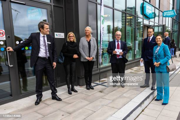 Crown Princess Victoria of Sweden and Prince Daniel of Sweden arrive at Tullhuset during a visit to the province of Gavleborg to discuss with locals...
