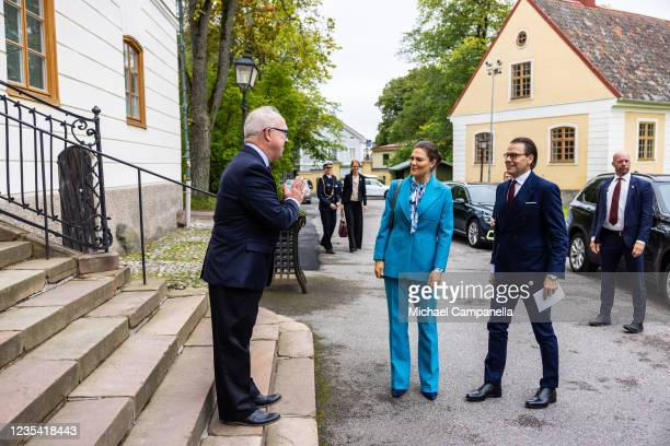 Crown Princess Victoria of Sweden and Prince Daniel of Sweden arrive at Gavle Palace during a visit to province of Gavleborg to discuss with locals...