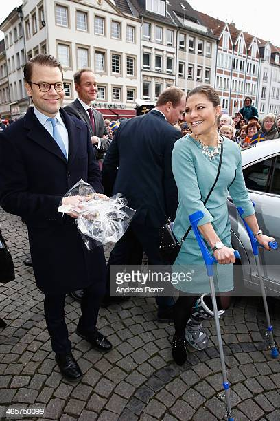 Crown Princess Victoria of Sweden and Prince Daniel of Sweden arrive at the town hall on January 29 2014 in Dusseldorf Germany