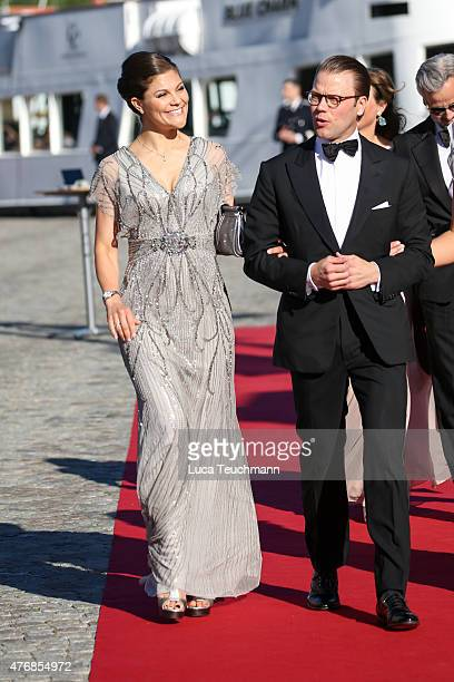 Crown Princess Victoria of Sweden and Prince Daniel of Sweden arrive for the prewedding dinner for Prince Carl Philip of Sweden and Sofia Hellqvist...