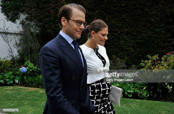 Crown Princess Victoria of Sweden and Prince Daniel of Sweden arrive for a meeting with leaders of the Swedish Colombian alumni network at the...