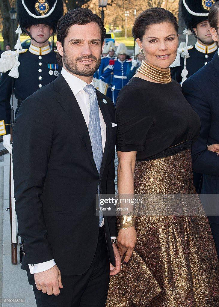 Crown Princess Victoria of Sweden and Prince Daniel of Sweden arrive at the Nordic Museum to attend a concert of the Royal Swedish Opera and Stockholm Concert Hall to celebrate the 70th birthday of King Carl Gustaf of Sweden on April 29, 2016 in Stockholm, Sweden.