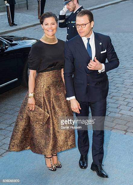 Crown Princess Victoria of Sweden and Prince Daniel of Sweden arrive at the Nordic Museum to attend a concert of the Royal Swedish Opera and...