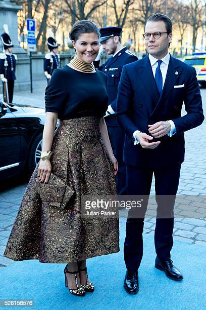 Crown Princess Victoria of Sweden and Prince Daniel of Sweden arrive for a Concert at the Nordic Museum on the eve of King Carl Gustaf of Sweden's...