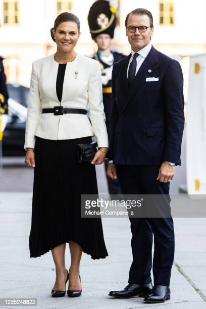 Crown Princess Victoria of Sweden and Prince Daniel of Sweden attend a ceremony in connection with opening of the Swedish Parliament for the 2021/22...